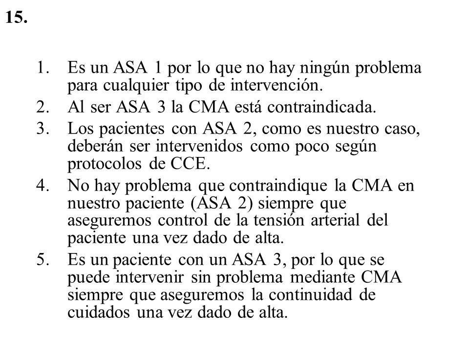 15. Es un ASA 1 por lo que no hay ningún problema para cualquier tipo de intervención. Al ser ASA 3 la CMA está contraindicada.