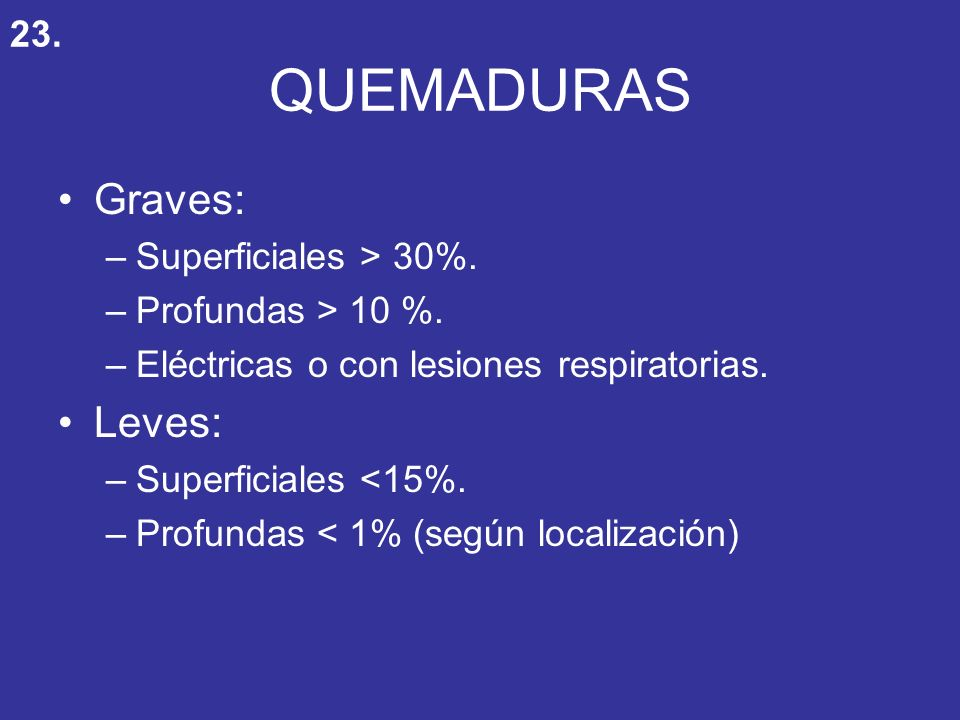 QUEMADURAS Graves: Leves: 23. Superficiales > 30%.