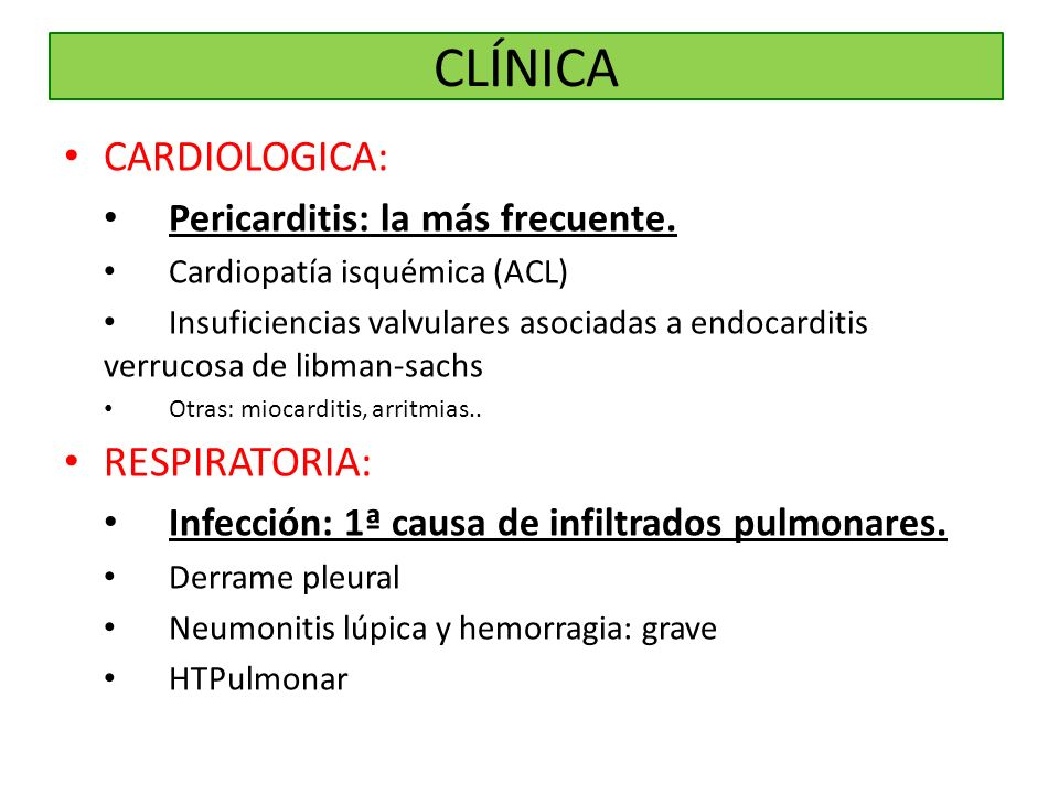 CLÍNICA CARDIOLOGICA: RESPIRATORIA: Pericarditis: la más frecuente.