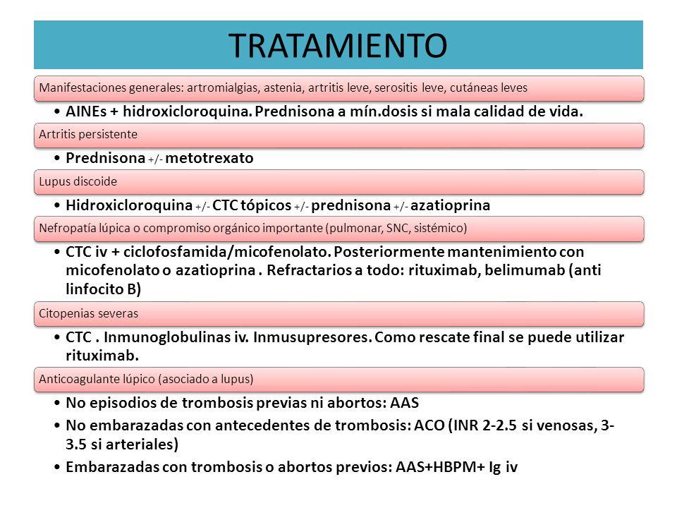 TRATAMIENTO Manifestaciones generales: artromialgias, astenia, artritis leve, serositis leve, cutáneas leves.
