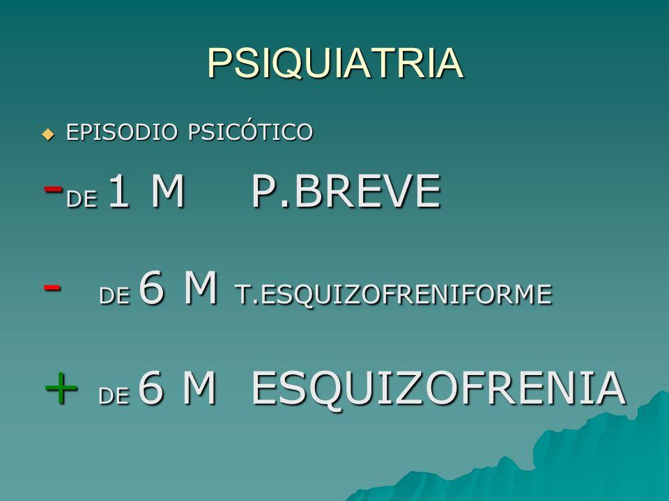 -DE 1 M P.BREVE - DE 6 M T.ESQUIZOFRENIFORME + DE 6 M ESQUIZOFRENIA