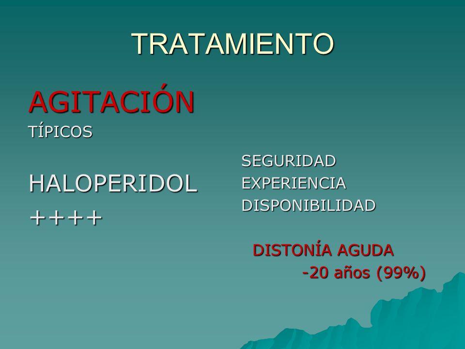 TRATAMIENTO AGITACIÓN HALOPERIDOL ++++ TÍPICOS SEGURIDAD EXPERIENCIA