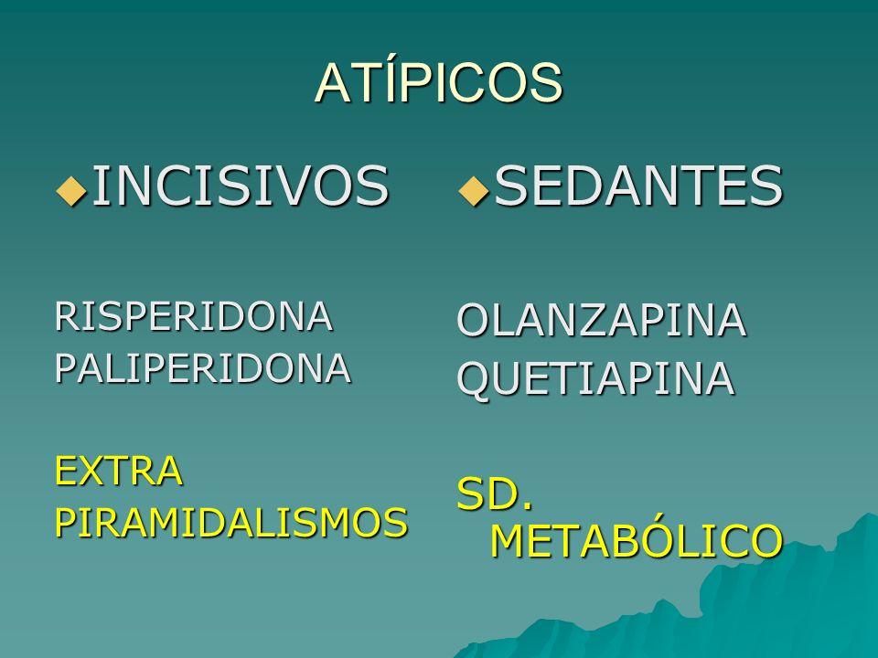 ATÍPICOS INCISIVOS SEDANTES OLANZAPINA QUETIAPINA SD. METABÓLICO