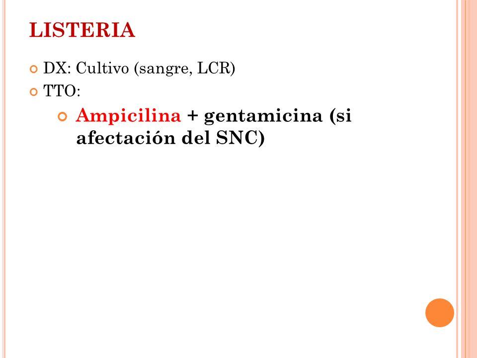 LISTERIA Ampicilina + gentamicina (si afectación del SNC)