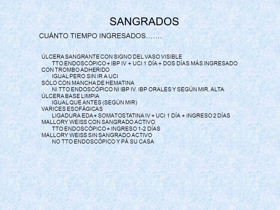 SANGRADOS CUÁNTO TIEMPO INGRESADOS…….