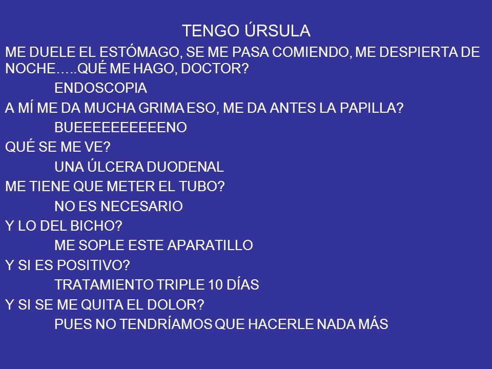 TENGO ÚRSULA ME DUELE EL ESTÓMAGO, SE ME PASA COMIENDO, ME DESPIERTA DE NOCHE…..QUÉ ME HAGO, DOCTOR