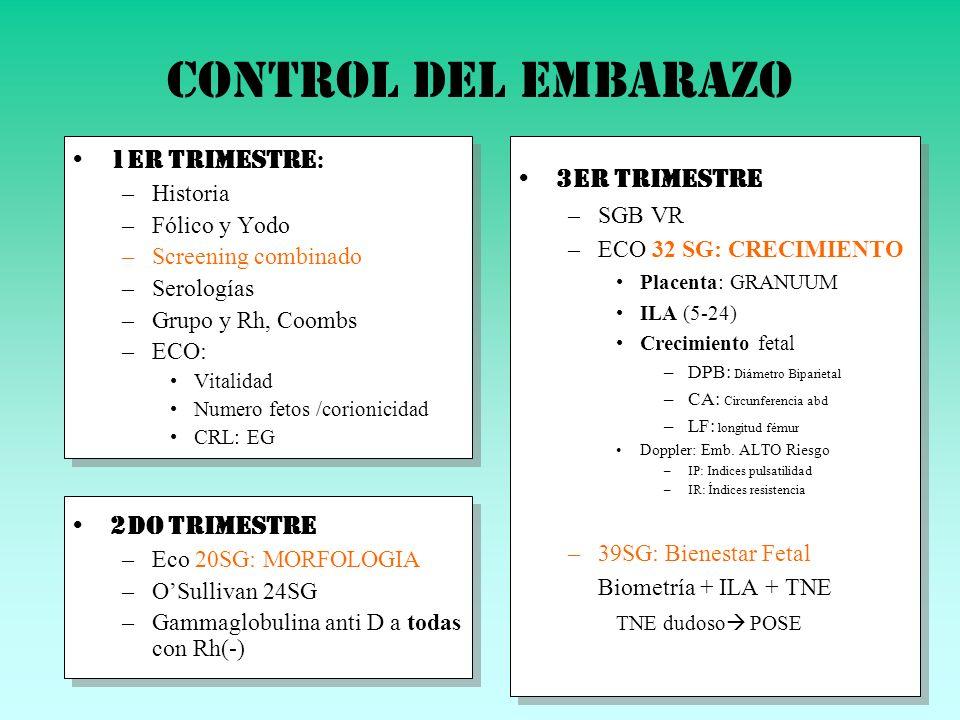 Control del embarazo 1er trimestre: 3er trimestre 2do Trimestre