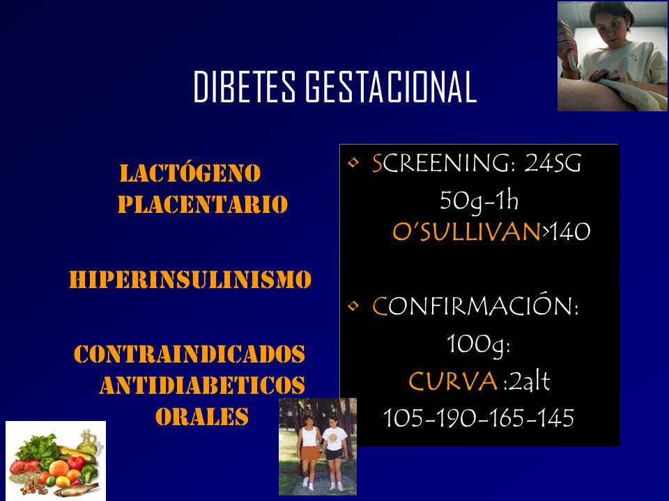 DIBETES GESTACIONAL SCREENING: 24SG LACTÓGENO PLACENTARIO