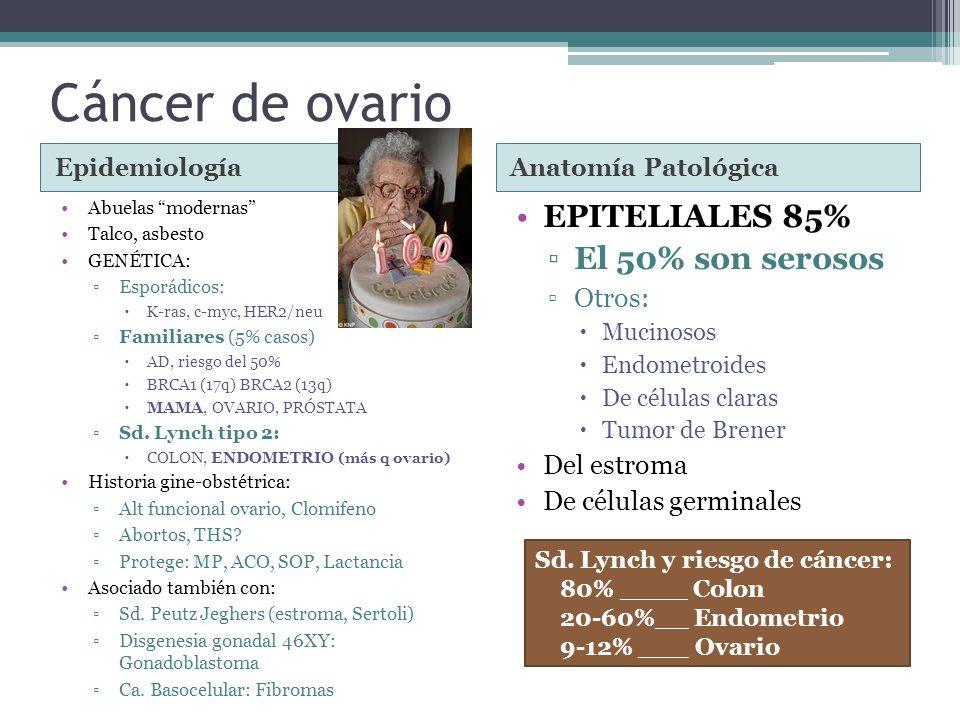Cáncer de ovario EPITELIALES 85% El 50% son serosos Otros: Del estroma