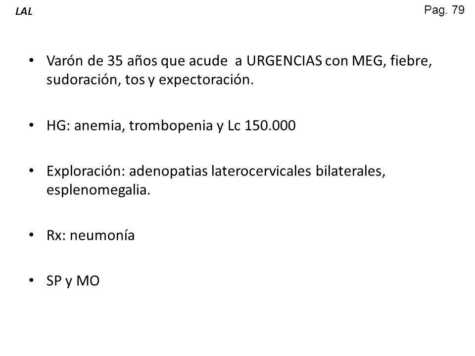 HG: anemia, trombopenia y Lc 150.000