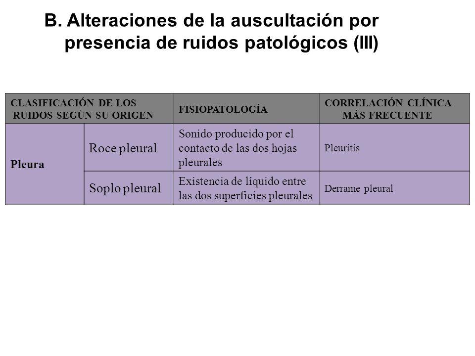 B. Alteraciones de la auscultación por presencia de ruidos patológicos (III)