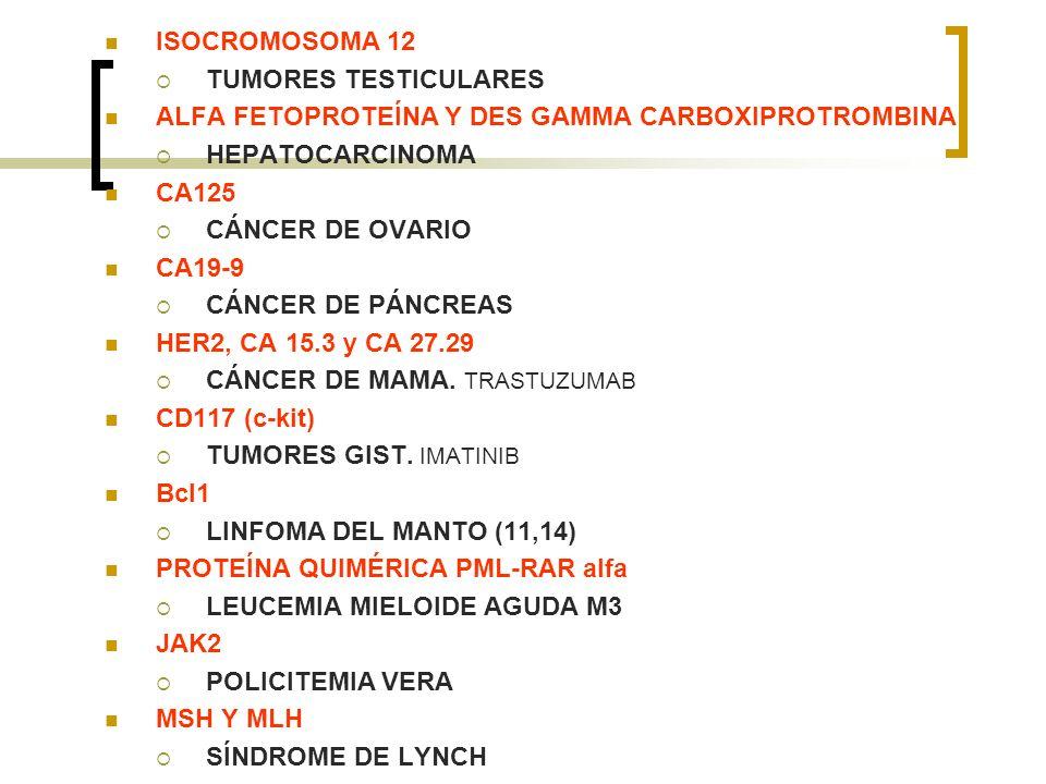 ISOCROMOSOMA 12 TUMORES TESTICULARES. ALFA FETOPROTEÍNA Y DES GAMMA CARBOXIPROTROMBINA. HEPATOCARCINOMA.