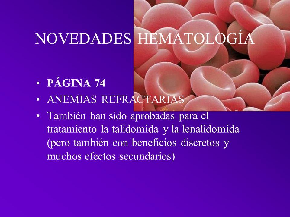 NOVEDADES HEMATOLOGÍA
