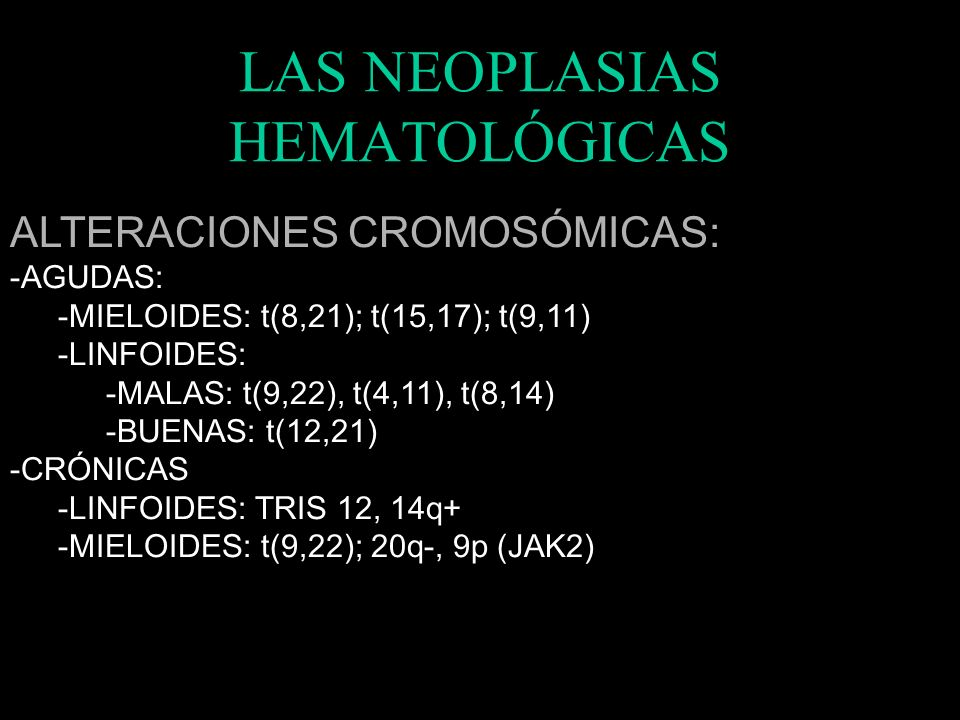 LAS NEOPLASIAS HEMATOLÓGICAS