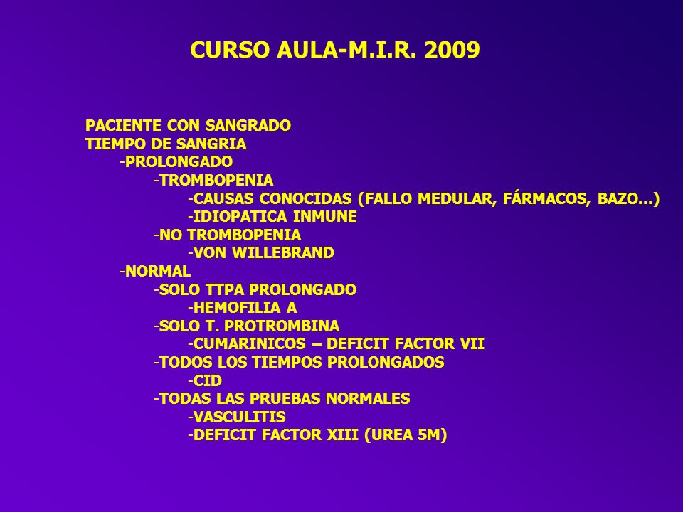 CURSO AULA-M.I.R. 2009 PACIENTE CON SANGRADO TIEMPO DE SANGRIA