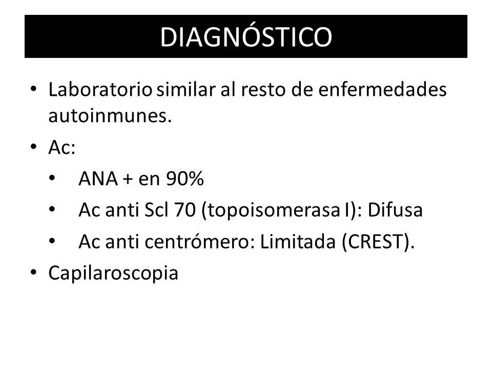 DIAGNÓSTICO Laboratorio similar al resto de enfermedades autoinmunes.