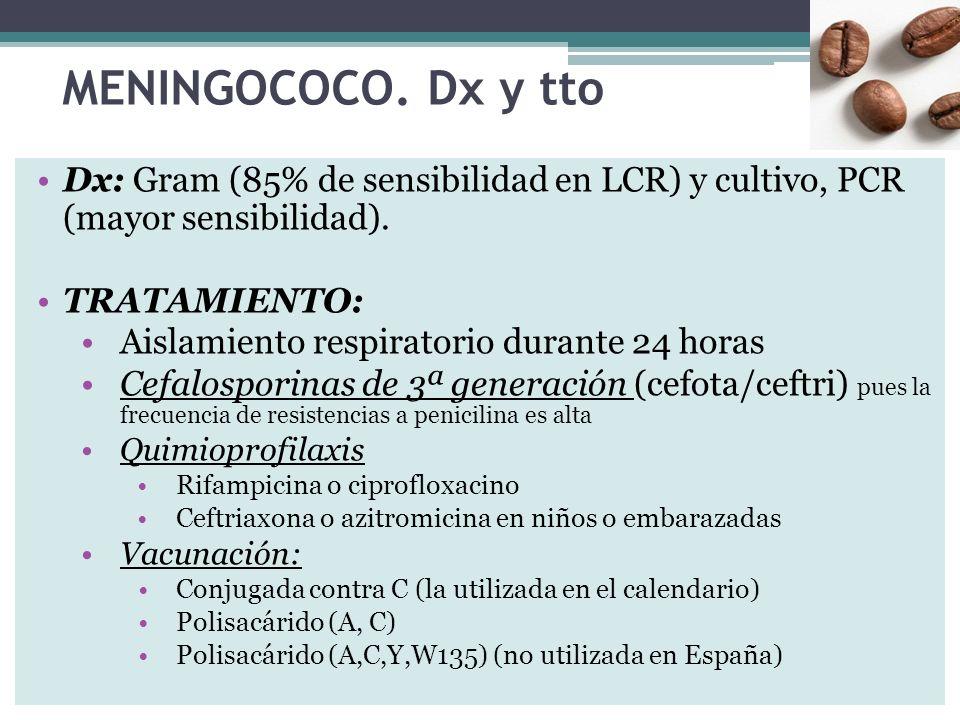 MENINGOCOCO. Dx y tto Dx: Gram (85% de sensibilidad en LCR) y cultivo, PCR (mayor sensibilidad). TRATAMIENTO: