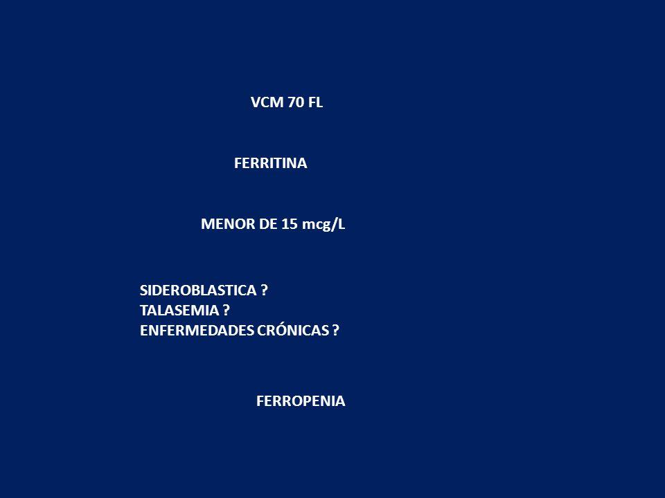 VCM 70 FLFERRITINA.MENOR DE 15 mcg/L. SIDEROBLASTICA .