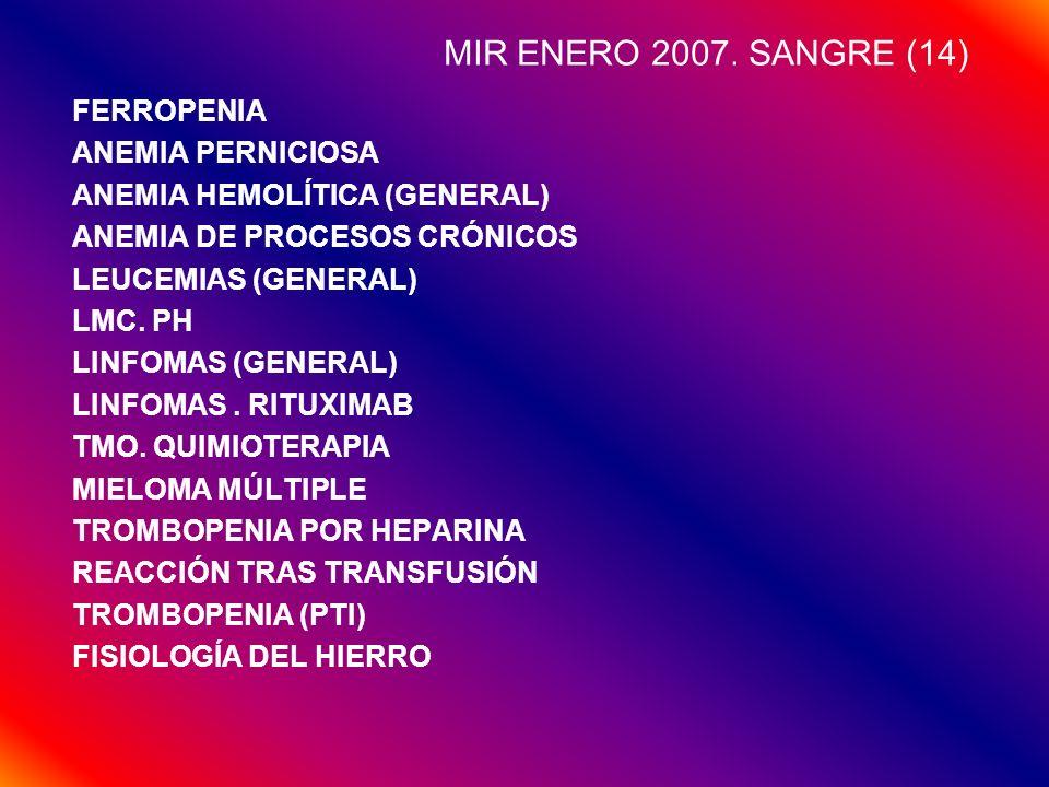 MIR ENERO 2007. SANGRE (14) FERROPENIA ANEMIA PERNICIOSA