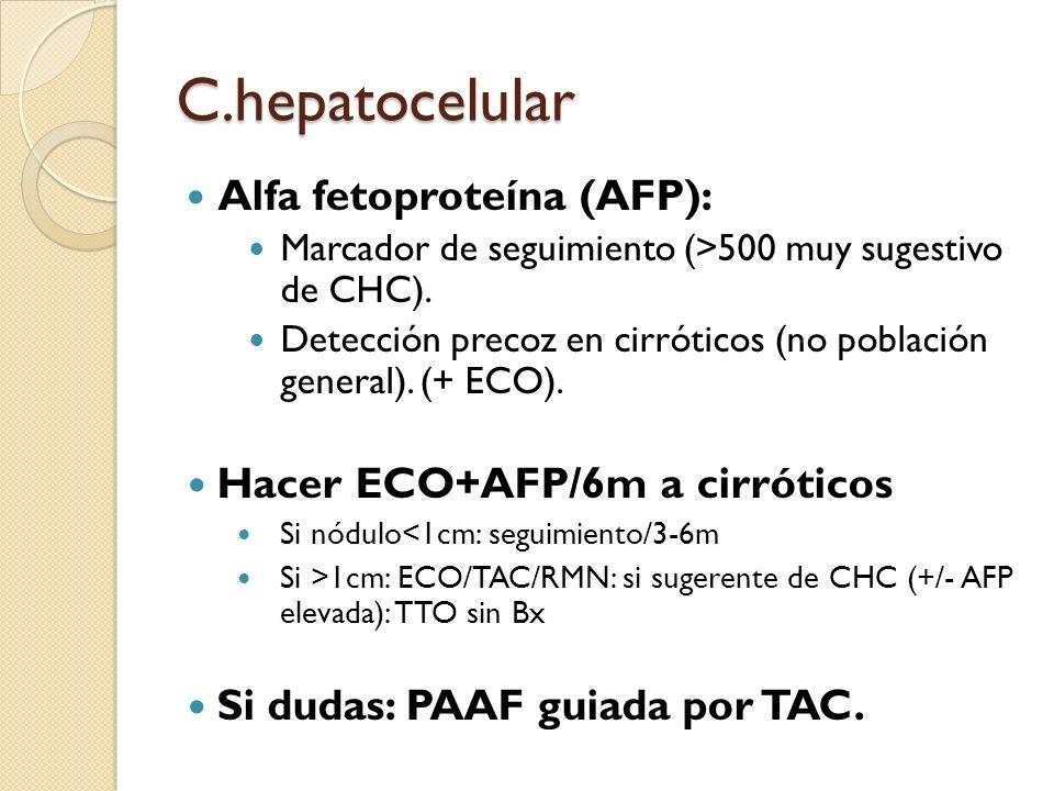 C.hepatocelular Alfa fetoproteína (AFP): Hacer ECO+AFP/6m a cirróticos