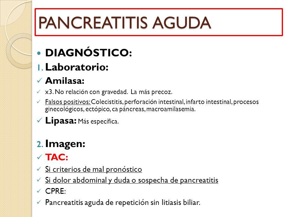 PANCREATITIS AGUDA DIAGNÓSTICO: Laboratorio: Imagen: Amilasa: