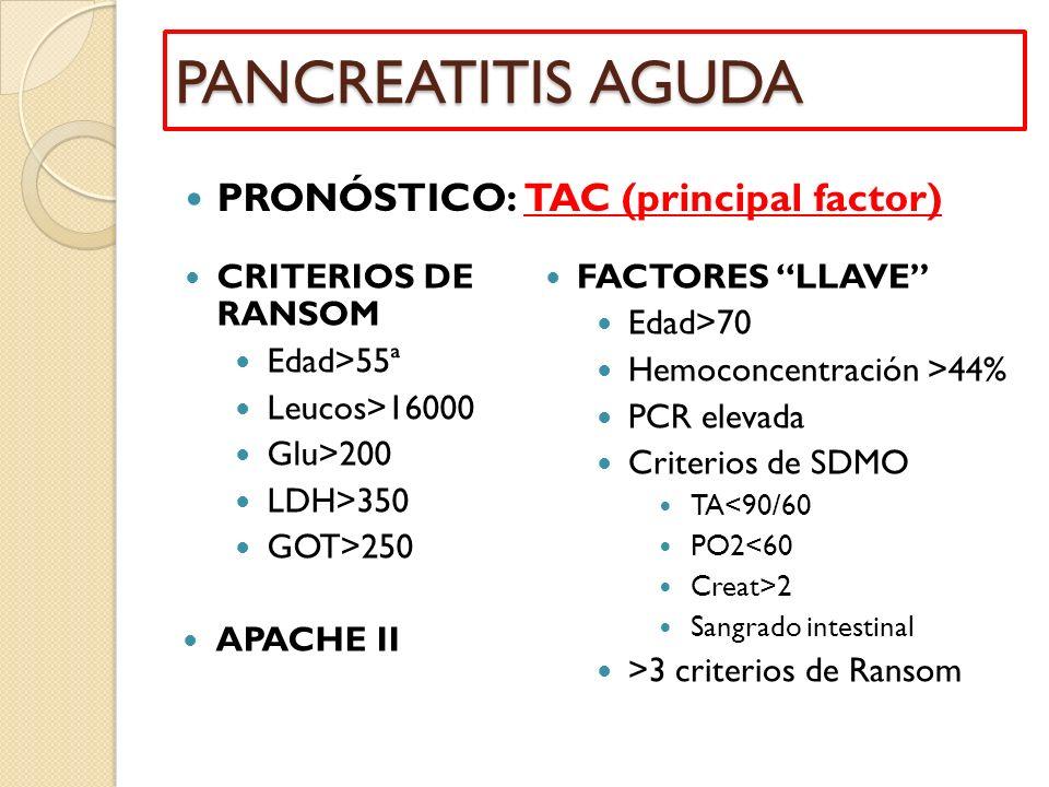 PANCREATITIS AGUDA PRONÓSTICO: TAC (principal factor)