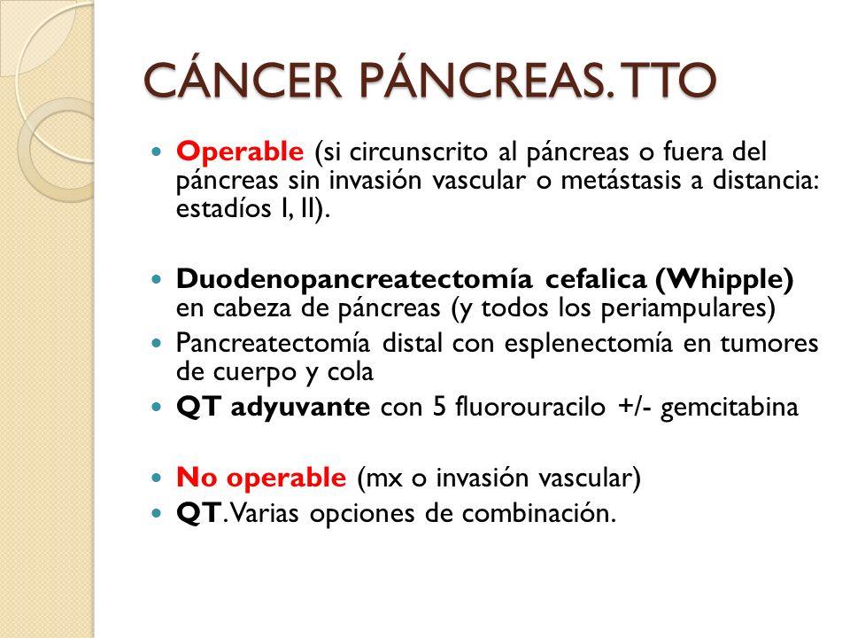CÁNCER PÁNCREAS. TTO Operable (si circunscrito al páncreas o fuera del páncreas sin invasión vascular o metástasis a distancia: estadíos I, II).
