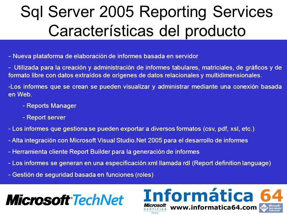Sql Server 2005 Reporting Services Características del producto