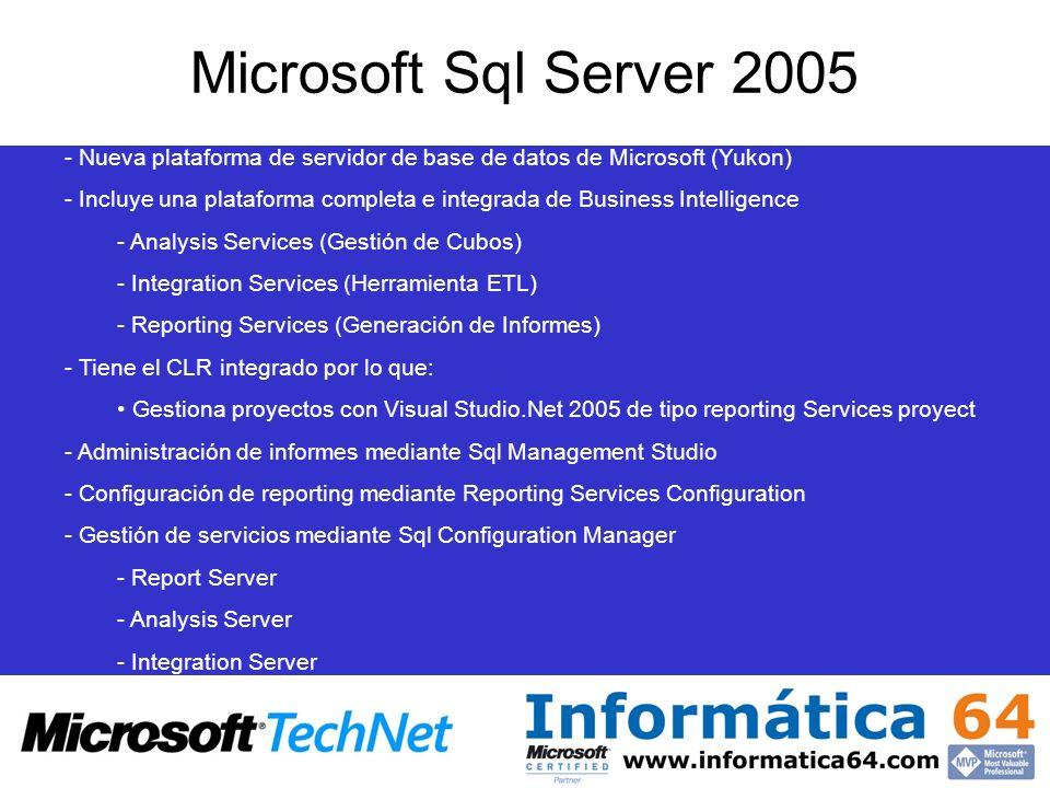 Microsoft Sql Server 2005 Nueva plataforma de servidor de base de datos de Microsoft (Yukon)