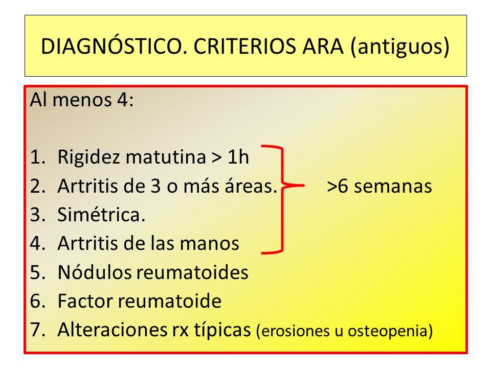 DIAGNÓSTICO. CRITERIOS ARA (antiguos)