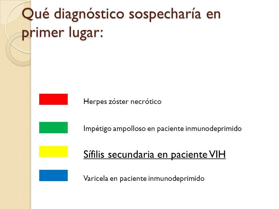 Qué diagnóstico sospecharía en primer lugar: