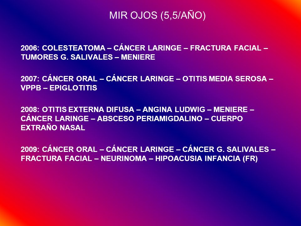 MIR OJOS (5,5/AÑO) 2006: COLESTEATOMA – CÁNCER LARINGE – FRACTURA FACIAL – TUMORES G. SALIVALES – MENIERE.