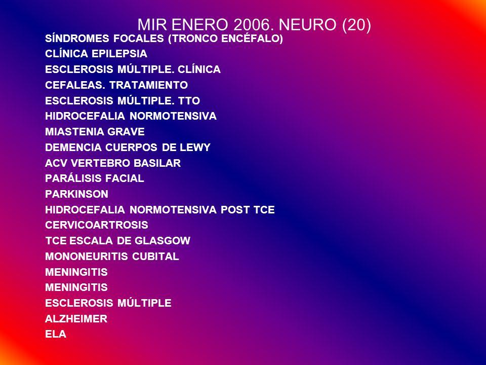 MIR ENERO 2006. NEURO (20) SÍNDROMES FOCALES (TRONCO ENCÉFALO)