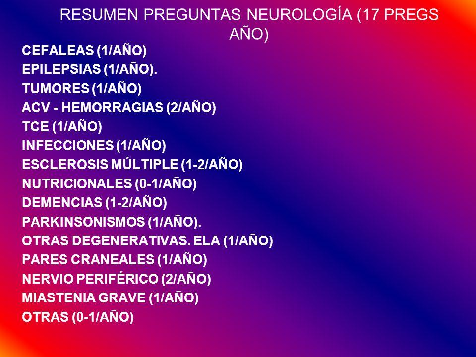 RESUMEN PREGUNTAS NEUROLOGÍA (17 PREGS AÑO)