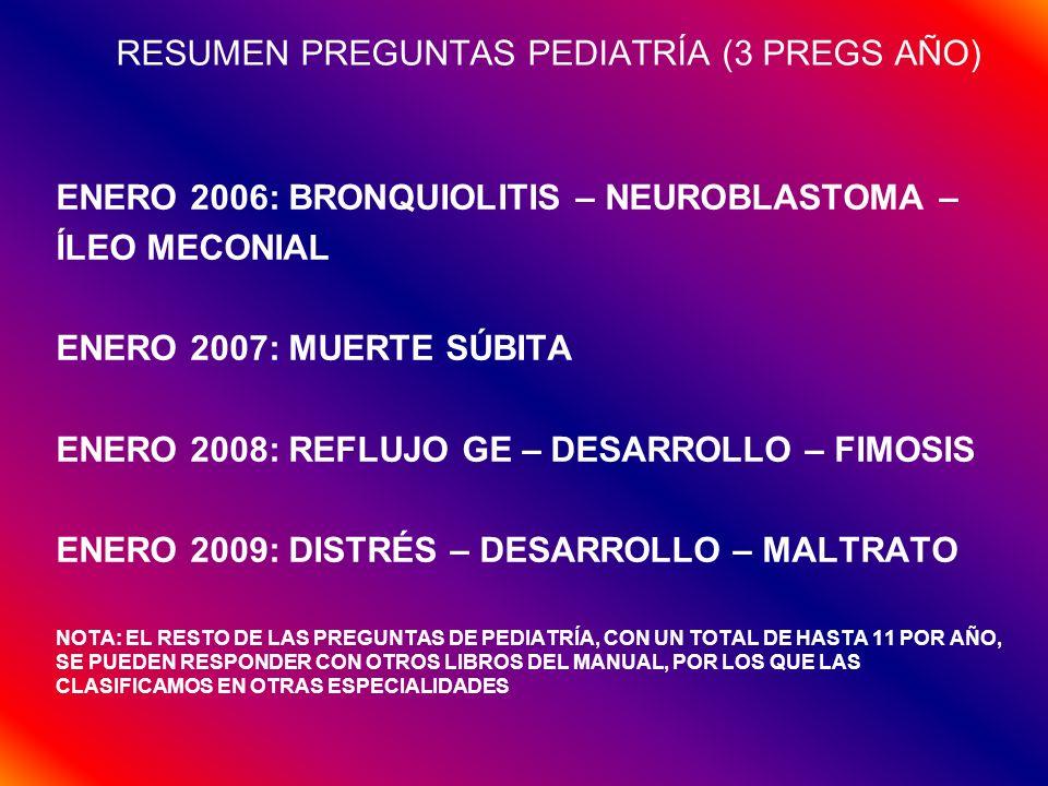 RESUMEN PREGUNTAS PEDIATRÍA (3 PREGS AÑO)