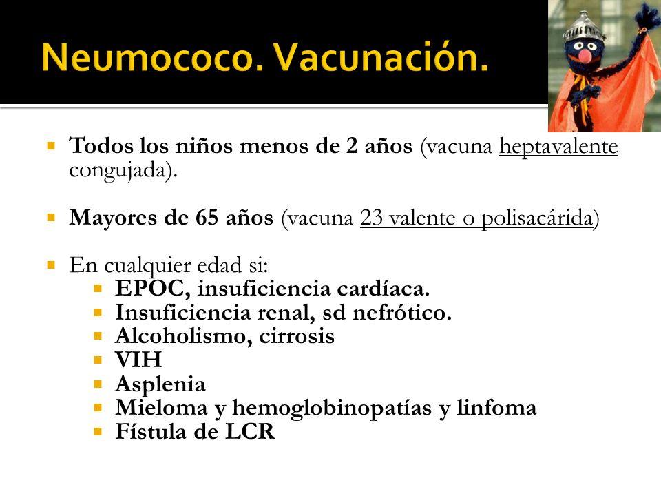 Neumococo. Vacunación. Todos los niños menos de 2 años (vacuna heptavalente congujada). Mayores de 65 años (vacuna 23 valente o polisacárida)