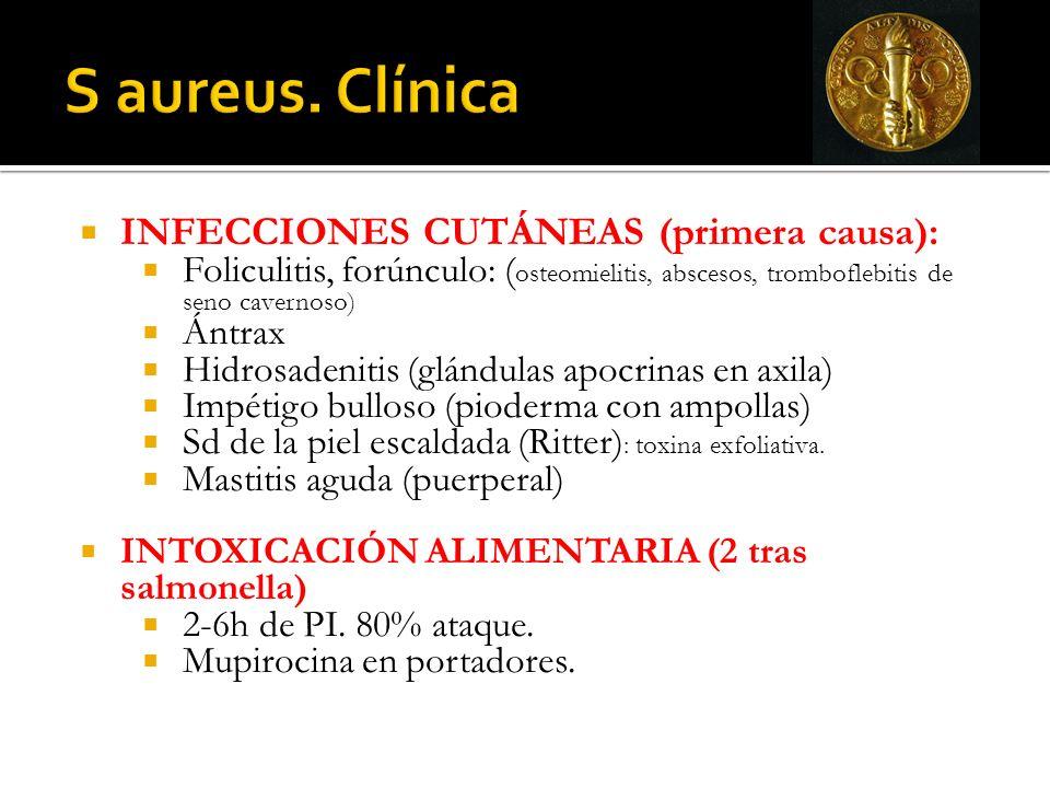 S aureus. Clínica INFECCIONES CUTÁNEAS (primera causa):