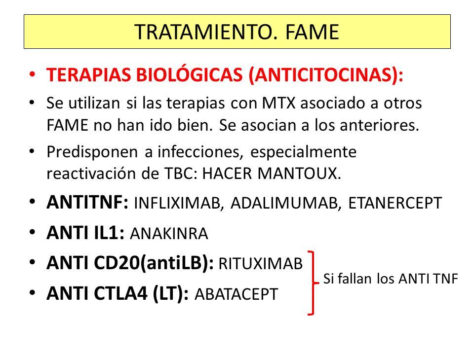 TRATAMIENTO. FAME TERAPIAS BIOLÓGICAS (ANTICITOCINAS):