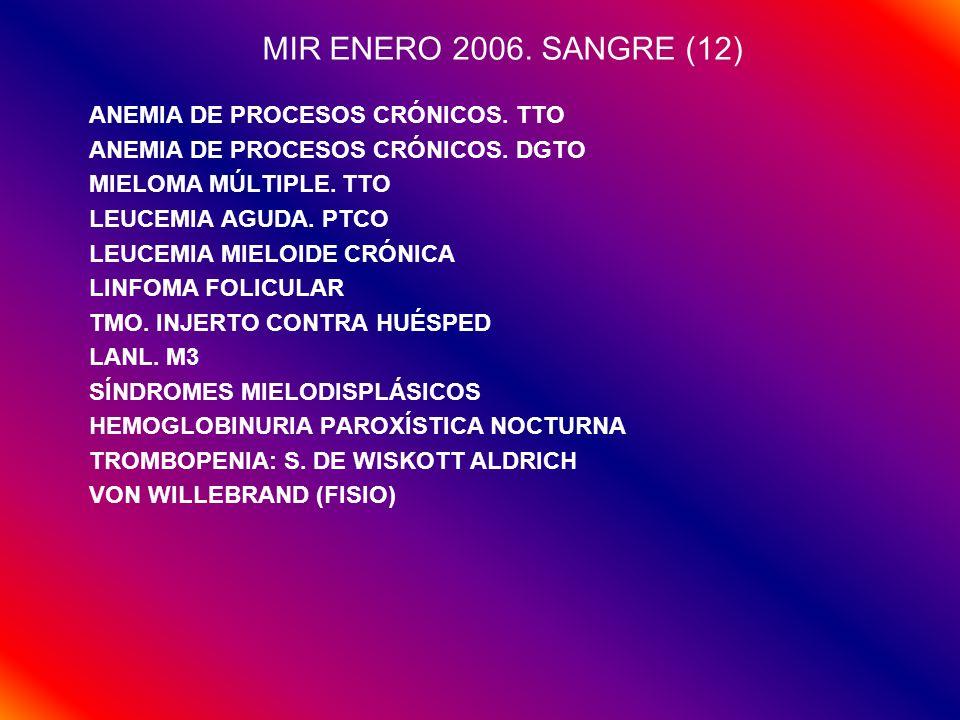 MIR ENERO 2006. SANGRE (12) ANEMIA DE PROCESOS CRÓNICOS. TTO