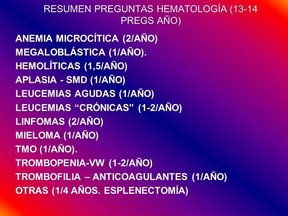 RESUMEN PREGUNTAS HEMATOLOGÍA (13-14 PREGS AÑO)