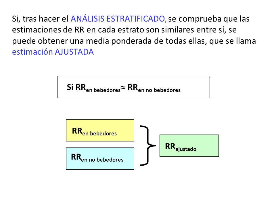 Si, tras hacer el ANÁLISIS ESTRATIFICADO, se comprueba que las estimaciones de RR en cada estrato son similares entre sí, se puede obtener una media ponderada de todas ellas, que se llama estimación AJUSTADA