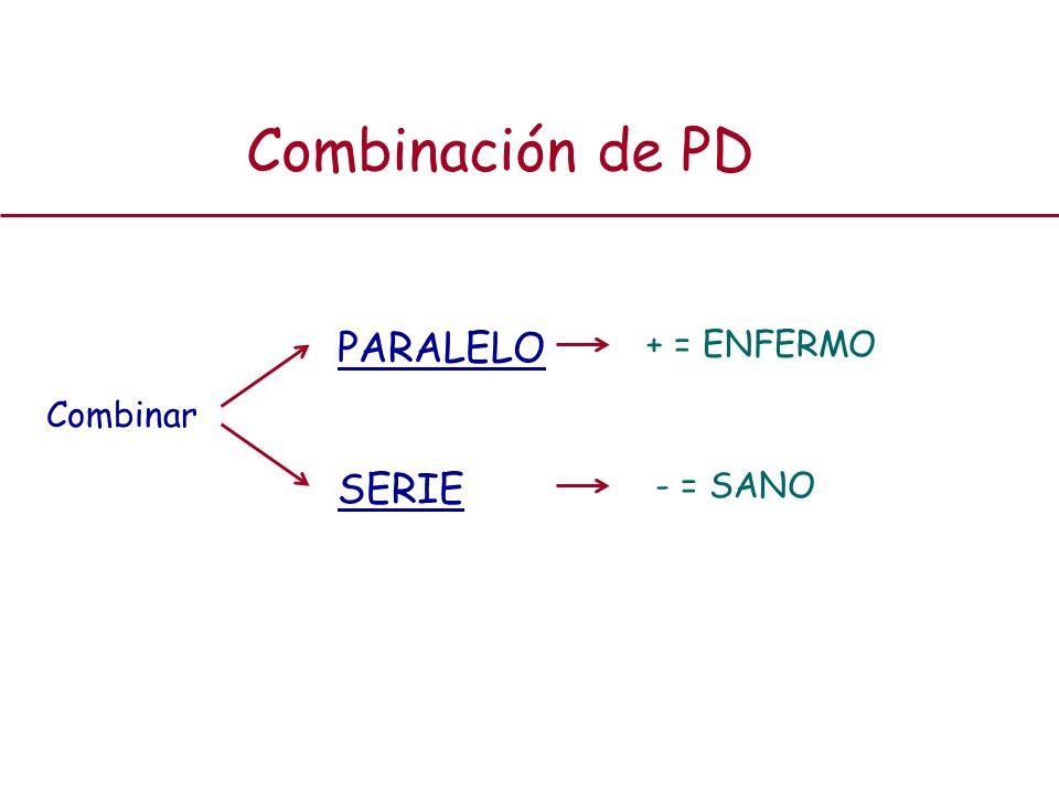 Combinación de PD PARALELO + = ENFERMO Combinar SERIE - = SANO