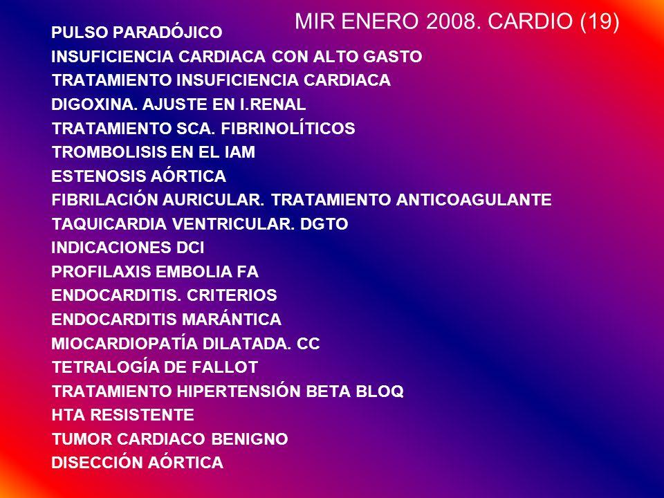 MIR ENERO 2008. CARDIO (19) PULSO PARADÓJICO