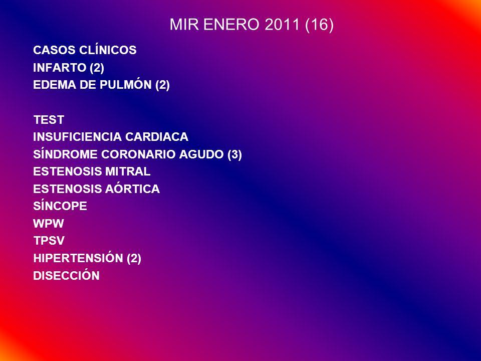 MIR ENERO 2011 (16) CASOS CLÍNICOS INFARTO (2) EDEMA DE PULMÓN (2)