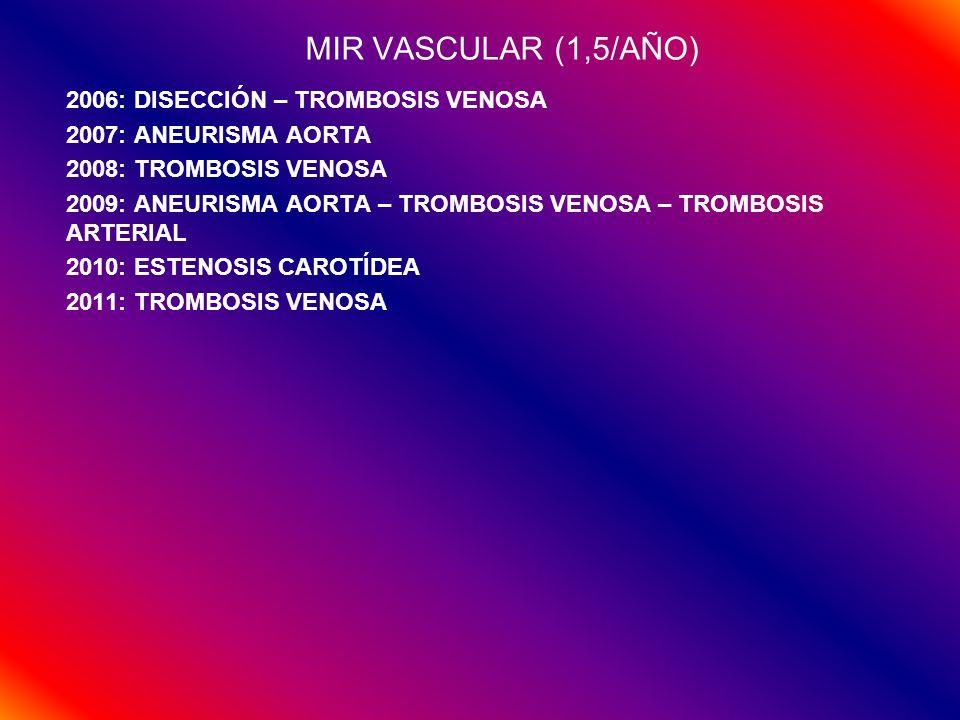 MIR VASCULAR (1,5/AÑO) 2006: DISECCIÓN – TROMBOSIS VENOSA