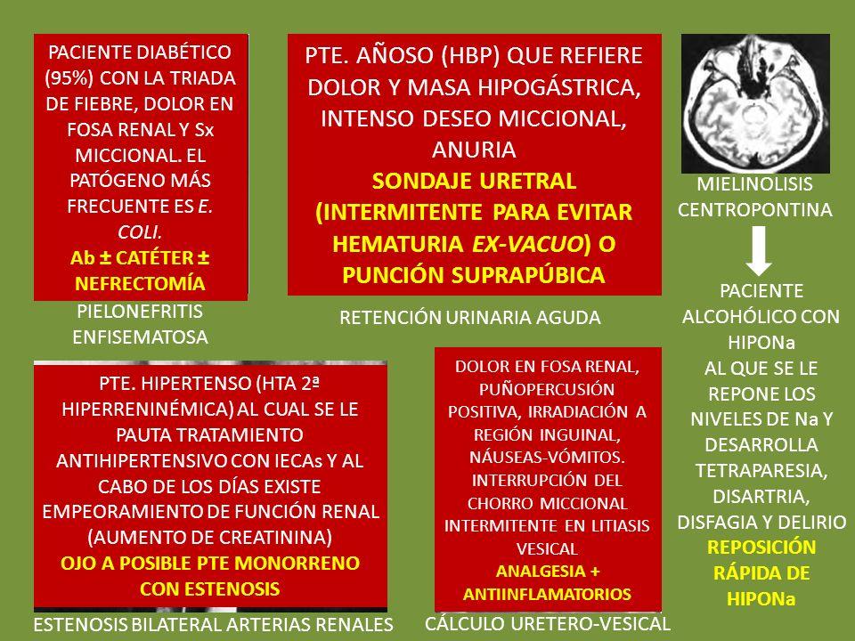PACIENTE DIABÉTICO (95%) CON LA TRIADA DE FIEBRE, DOLOR EN FOSA RENAL Y Sx MICCIONAL. EL PATÓGENO MÁS FRECUENTE ES E. COLI.