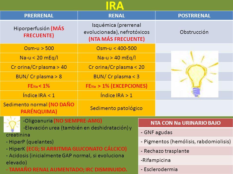 FENa > 1% (EXCEPCIONES) NTA CON Na URINARIO BAJO