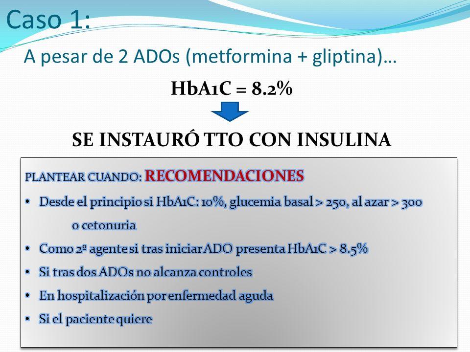 A pesar de 2 ADOs (metformina + gliptina)…