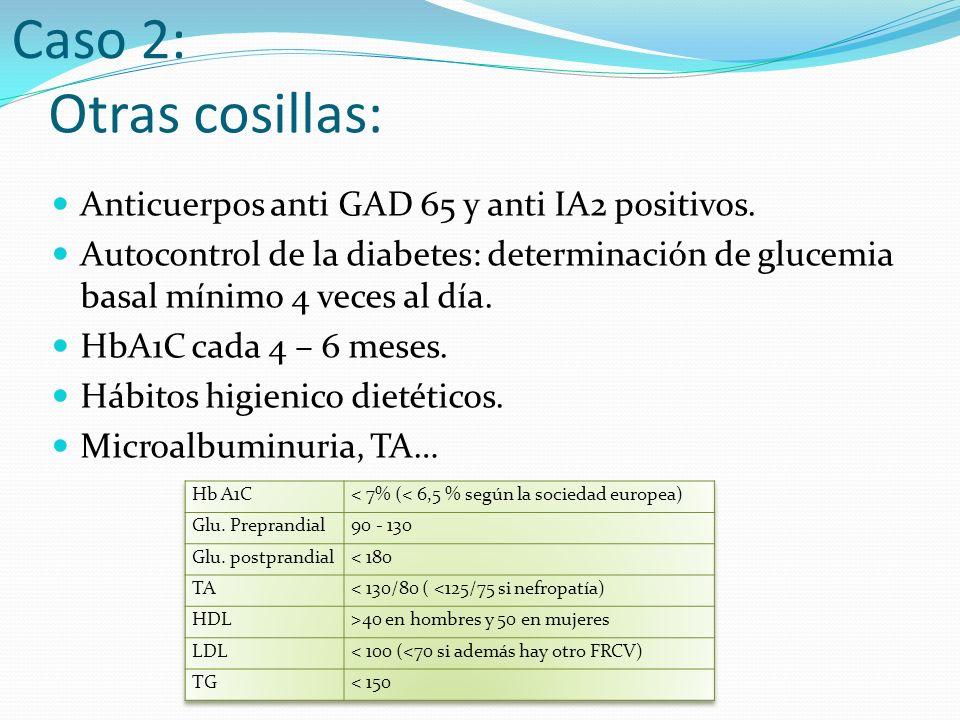Caso 2: Otras cosillas: Anticuerpos anti GAD 65 y anti IA2 positivos.