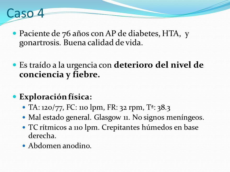 Caso 4 Paciente de 76 años con AP de diabetes, HTA, y gonartrosis. Buena calidad de vida.